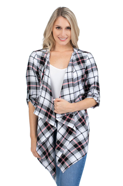 Black and Red Plaid Cardigan