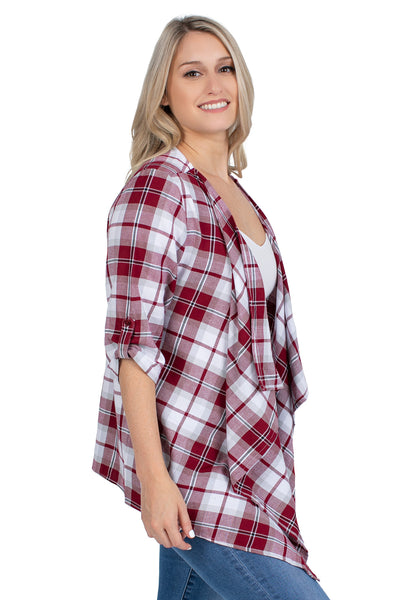 Garnet and Black Plaid Cardigan