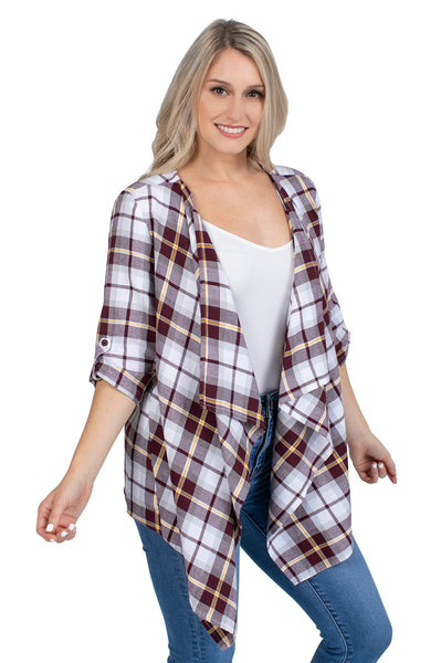 Maroon and Gold Plaid Cardigan