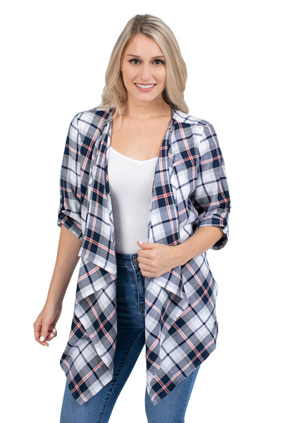 Navy and Orange Plaid Cardigan