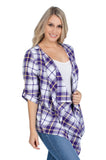 Purple and Gold Plaid Cardigan