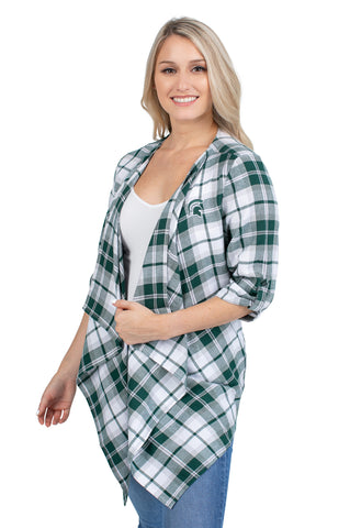 Michigan State Plaid Cardigan