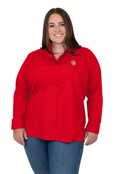 Plus Size Wisconsin Badgers Classic Poplin Shirt