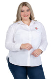 Plus Size Wisconsin Badgers Classic White Poplin Shirt