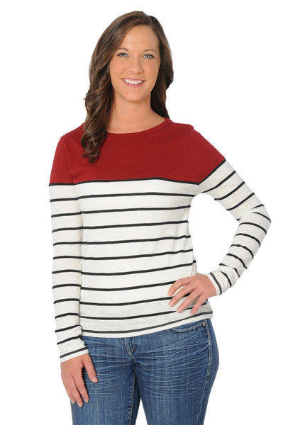Garnet Gameday Boat Neck Striped Top