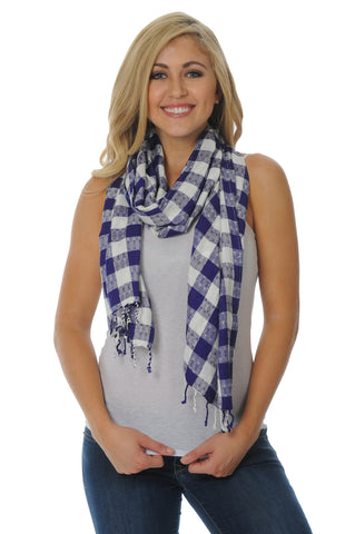 Purple and White Jacquard Scarf