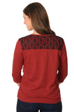 Fab Women's Garnet Top with Lace Shoulders