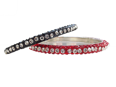 Red and Black Rhinestone Bangles