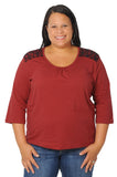 Plus Size Fab Women's Garnet Top with Lace Shoulders