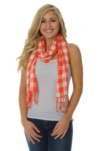 Orange and White Jacquard Scarf