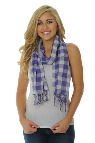Purple and Gray Cotton Scarf