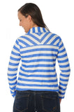 Royal Blue Striped Fleece Blazer