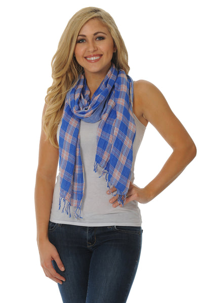 Royal Blue and Orange Cotton Scarf