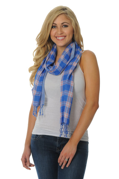 Royal Blue and Red Cotton Scarf