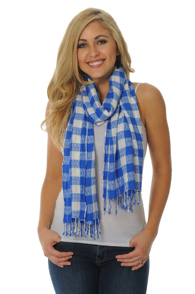 Royal Blue Jacquard Scarf