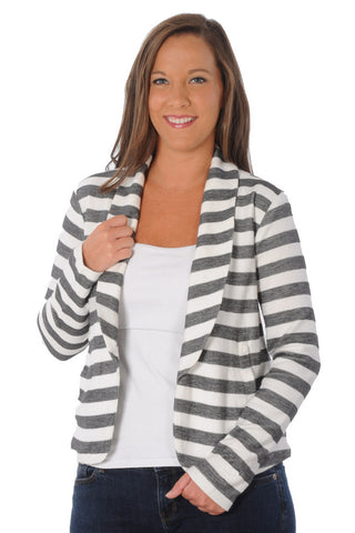 Gray Striped Fleece Blazer