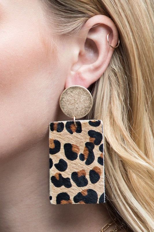 Load image into Gallery viewer, Love Me Animal Print Earrings - Brown - Amor Black Boutique