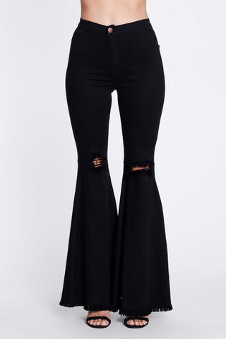 Sebrina Bell Bottom Jeans - Black - Amor Black Boutique