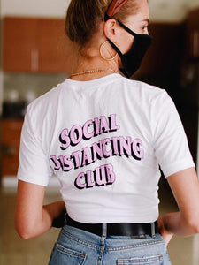 Social Distancing Club Tee - White - Amor Black Boutique