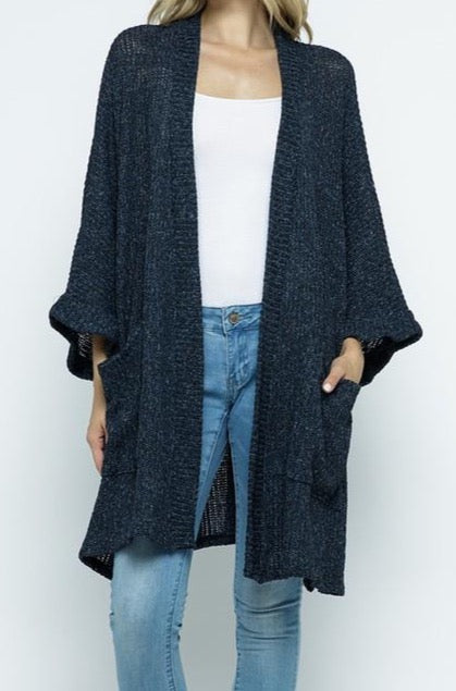 Make You Promise Cardigan - Navy - Amor Black Boutique