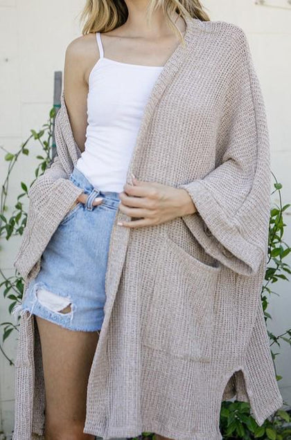 Make You Promise Cardigan - Taupe - Amor Black Boutique