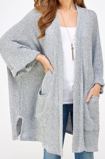 Make You Promise Cardigan - Grey - Amor Black Boutique