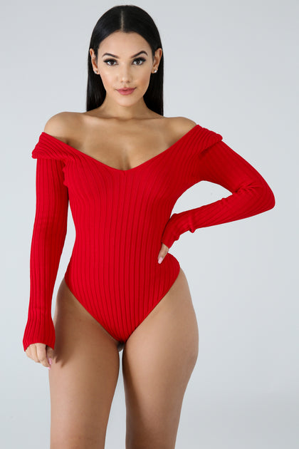 Plunging Knit Bodysuit - Red - Amor Black Boutique