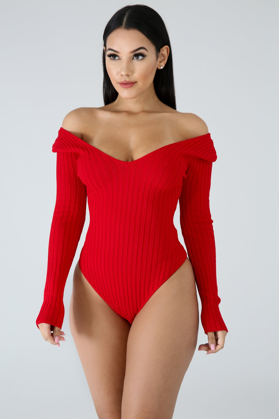 Plunging Knit Bodysuit - Red