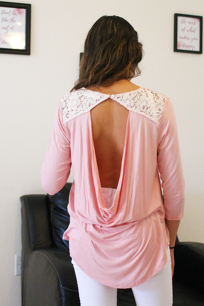 Just Wait & See Open Back Top - Pink - Fashion Top
