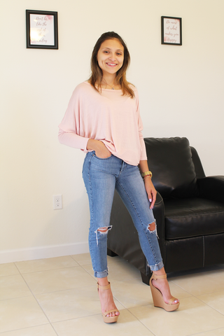 Lina Dolman Top - Dusty Rose - Amor Black Boutique