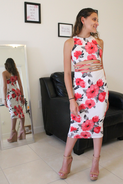 Put It On Pause Floral Dress - White - Amor Black Boutique