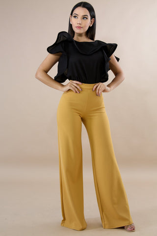 By Your Side Palazzo Pants - Mustard - Amor Black Boutique
