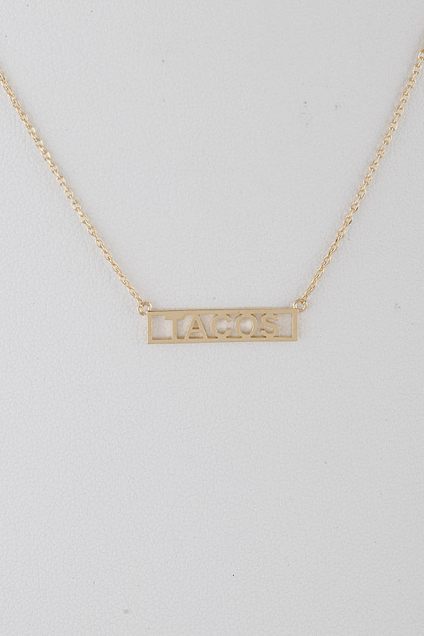 Want Some Tacos Necklace - Gold - Amor Black Boutique