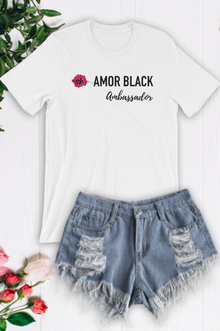 Amor Black Ambassador Tee - White - Graphic Top