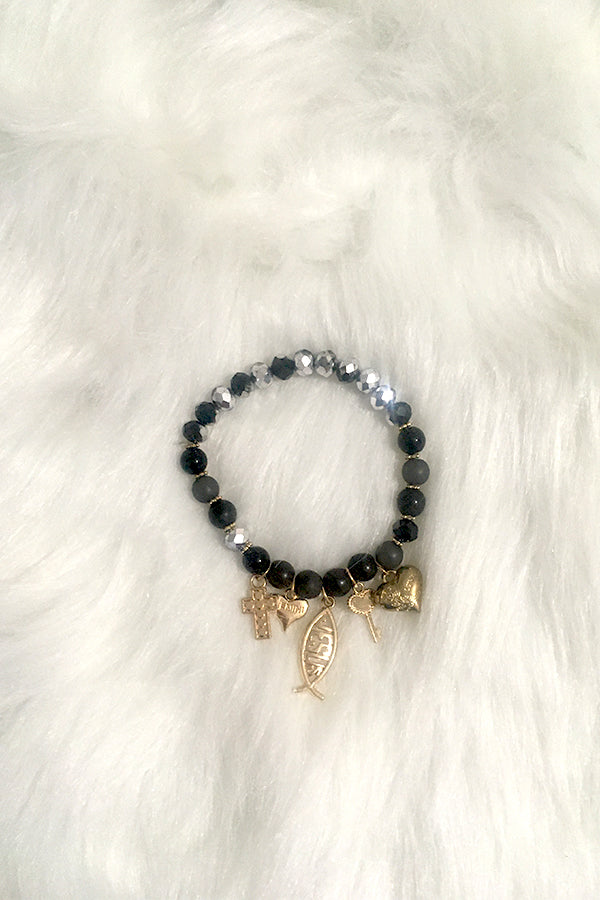 Jesus Pieces Bracelet - Black