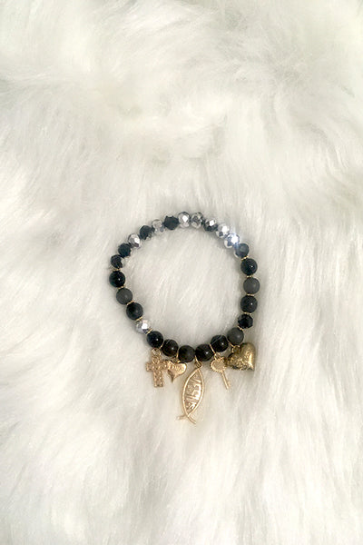 Jesus Pieces Bracelet - Black - Amor Black Boutique