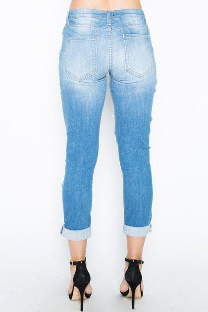 Not Your Boyfriend Jeans - Medium Blue - Amor Black Boutique