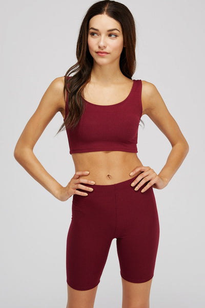 Essential Short Set - Burgundy - Amor Black Boutique