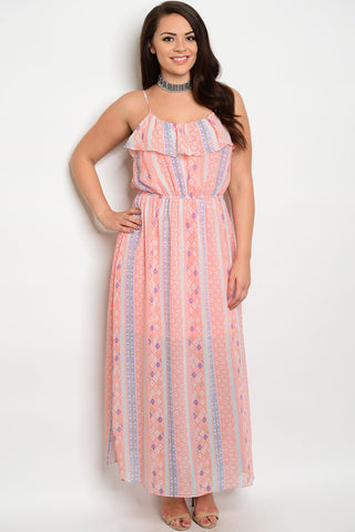 Henna Tribal Maxi Dress - Pink - Plus Dress