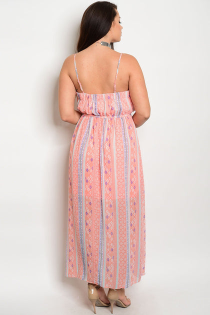 Henna Tribal Maxi Dress - Pink - Amor Black Boutique