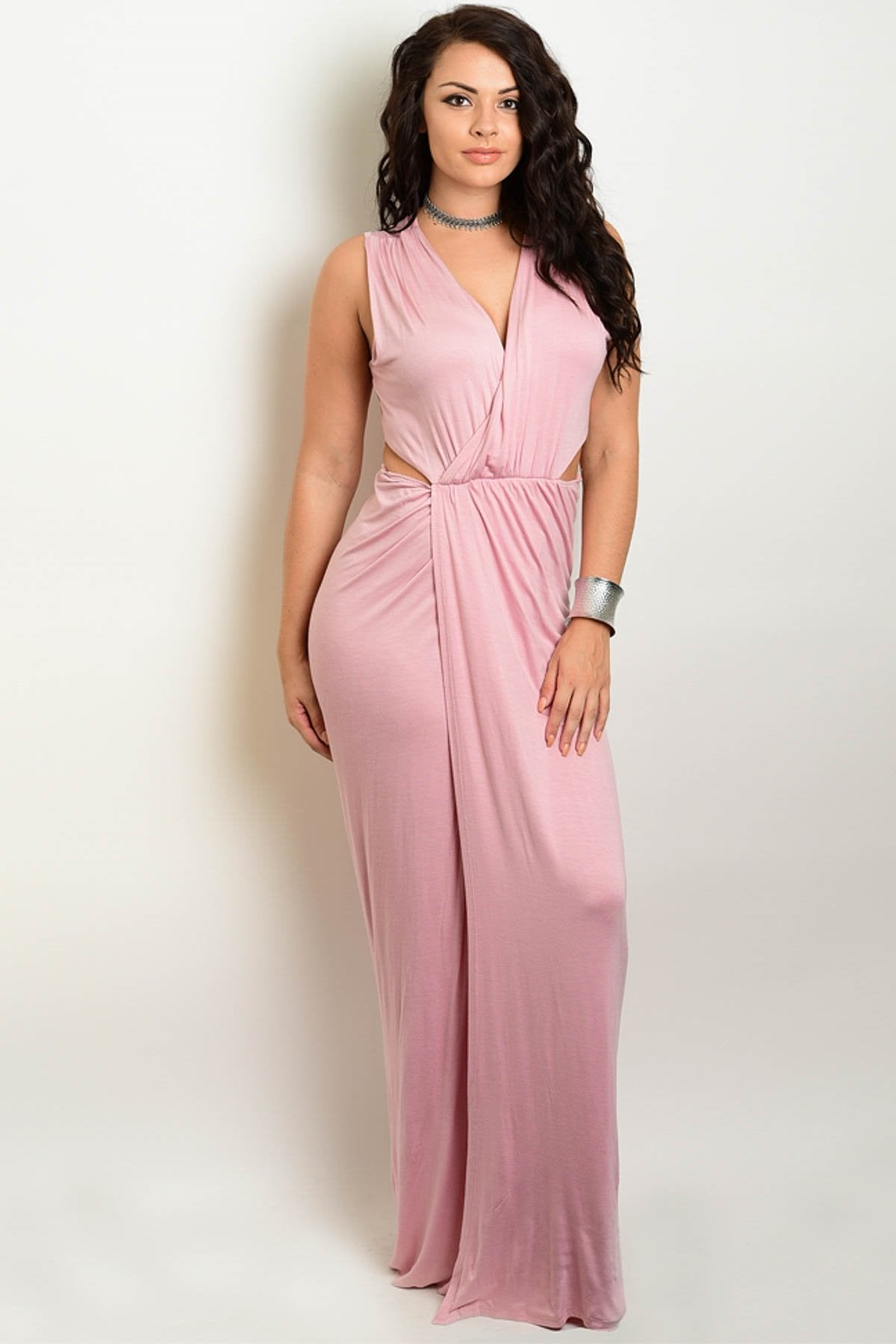 Julissa Cut Out Maxi Dress - Pink - Plus Dress