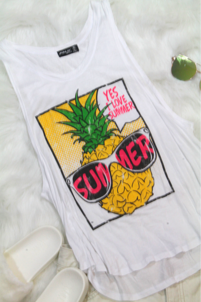 Yes I Love Summer Top - White