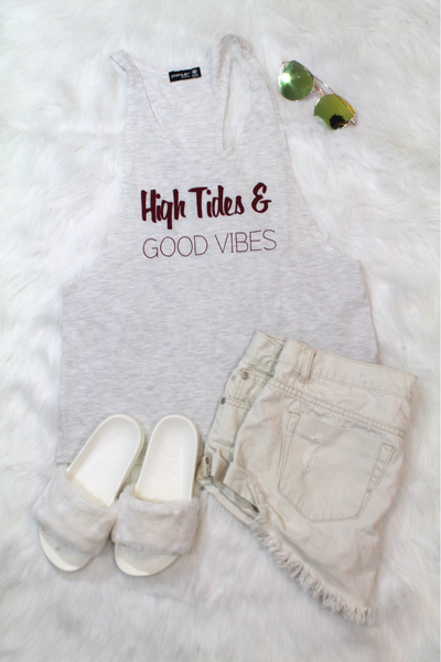 High Tides & Good Vibes Tank Top - Grey - Amor Black Boutique