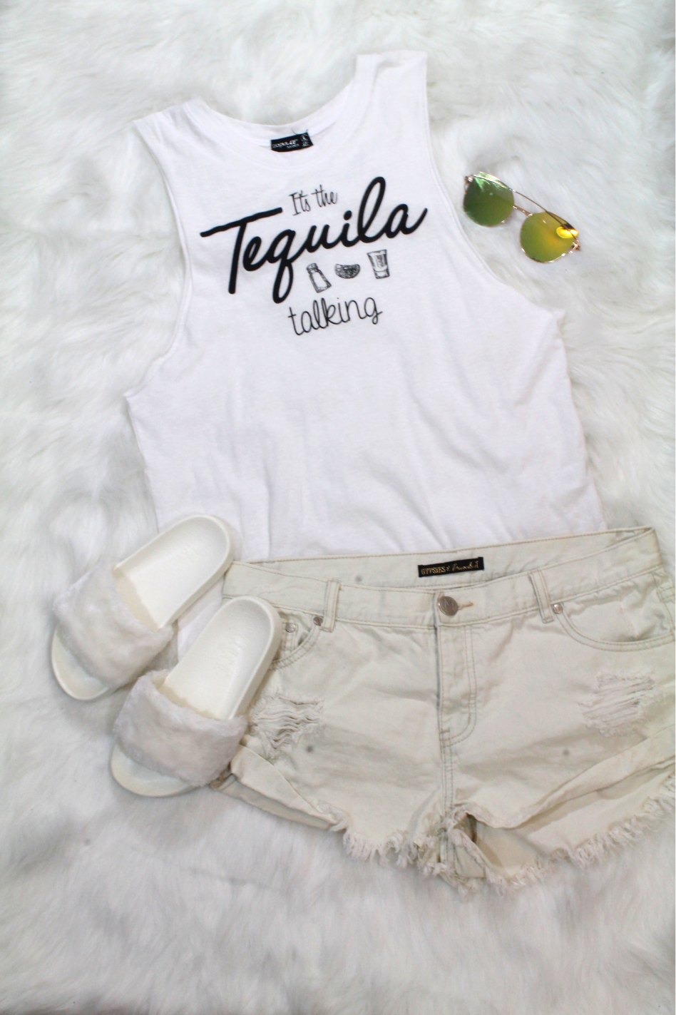 Tequila Talking Top - White - Amor Black Boutique