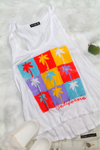 Cali Palm Trees Tank Tee - Amor Black Boutique