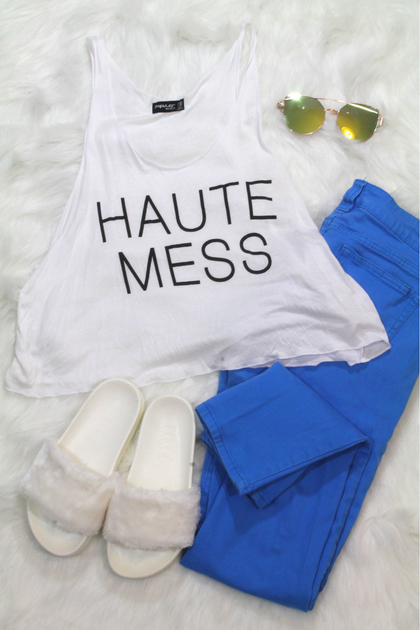 Haute Mess Tank Top - White - Amor Black Boutique
