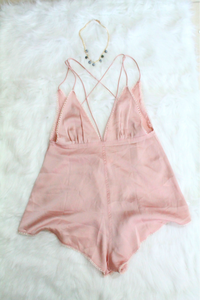 Feel Like Satin Romper - Blush - Amor Black Boutique