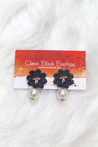Bow & Flower Pearl Earring - Navy - Amor Black Boutique