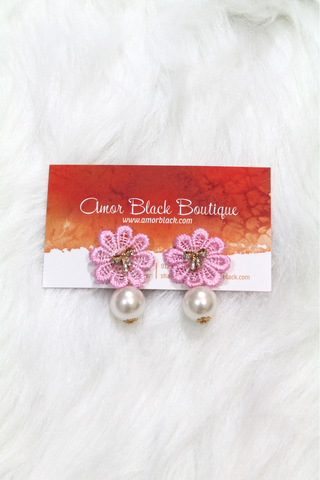 Bow & Flower Pearl Earring - Pink - Amor Black Boutique