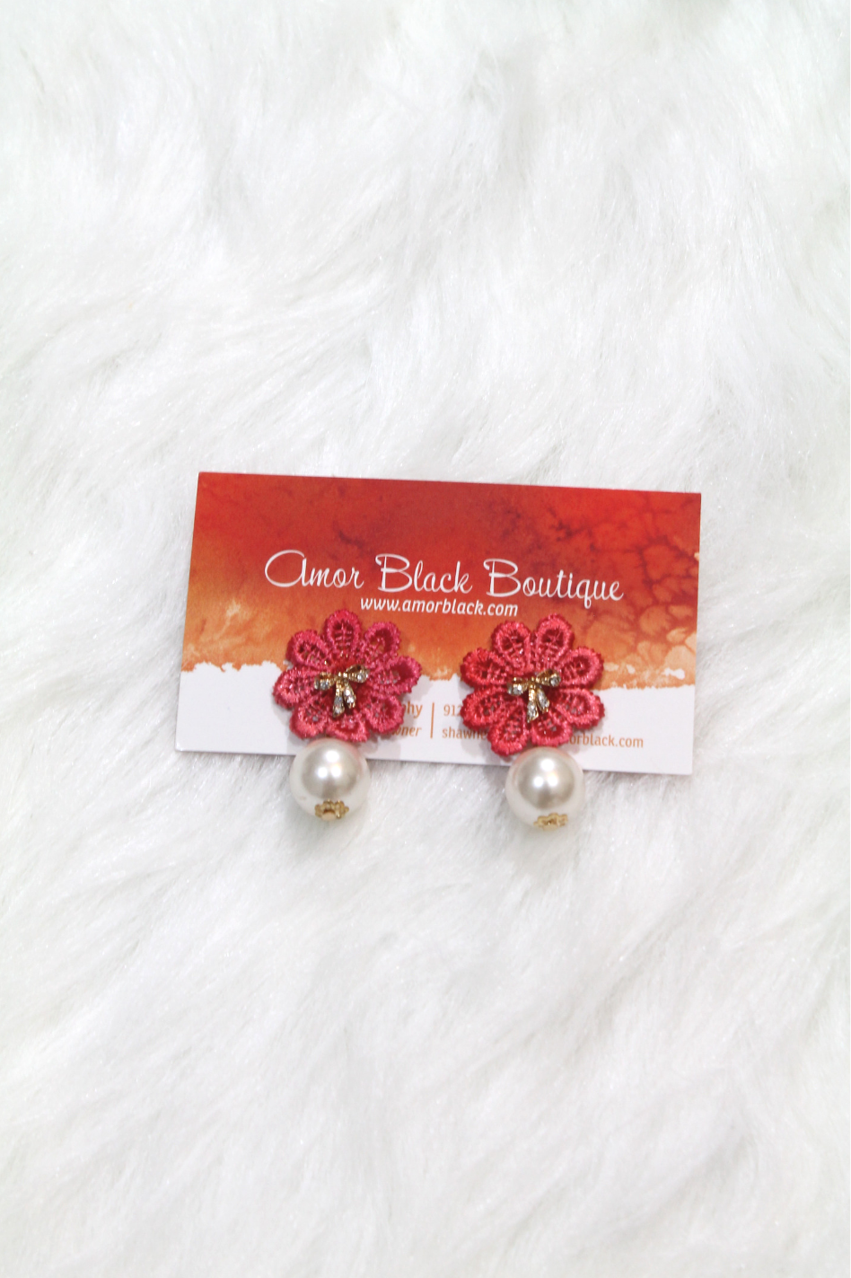 Bow & Flower Pearl Earring - Dark Pink - Amor Black Boutique